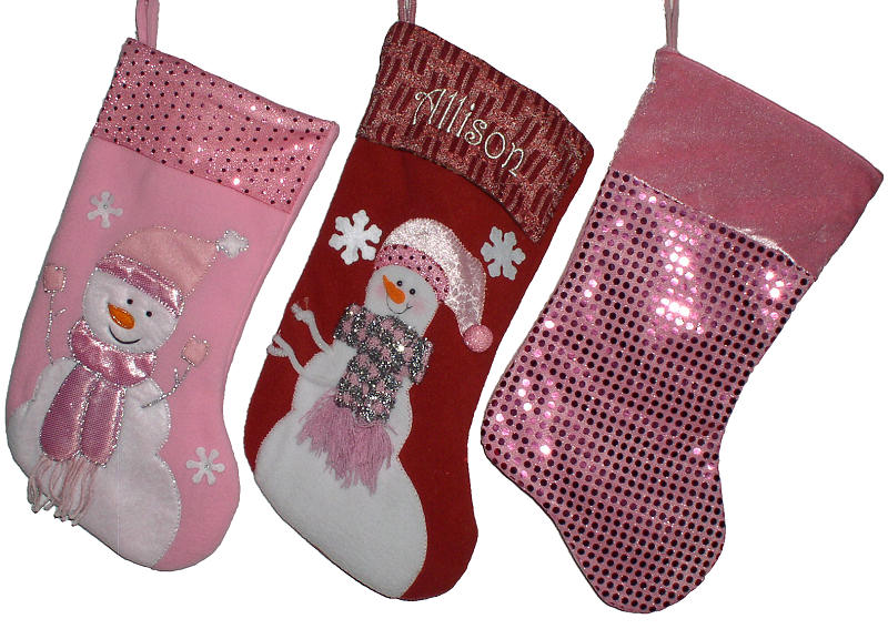 Pink and red Christmas stockings with a snowman design