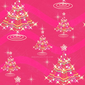 A design with a pink background and bright Christmas tree design