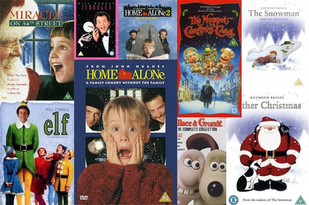 Collage of popular Christmas movie DVD covers