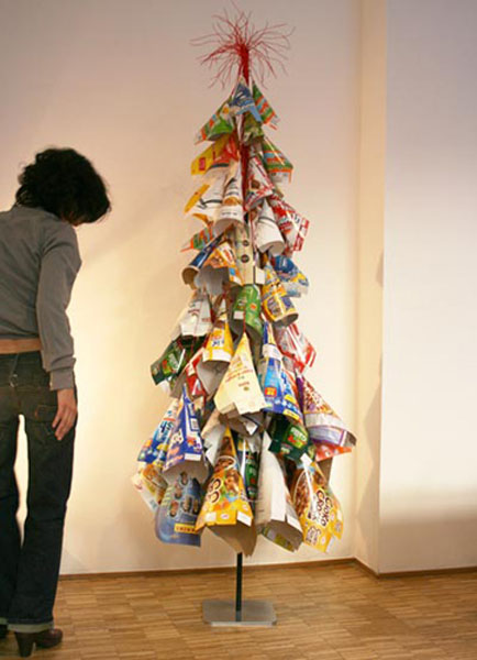 An upcycled Christmas tree made from recycled cardboard boxes
