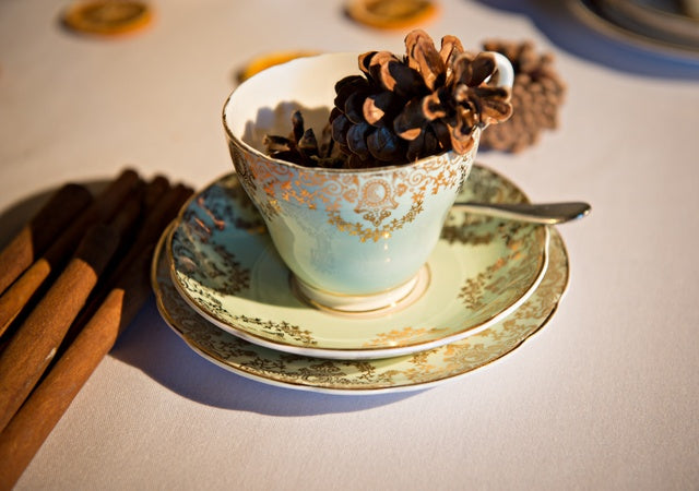 A teacup on a table containing a pine cone