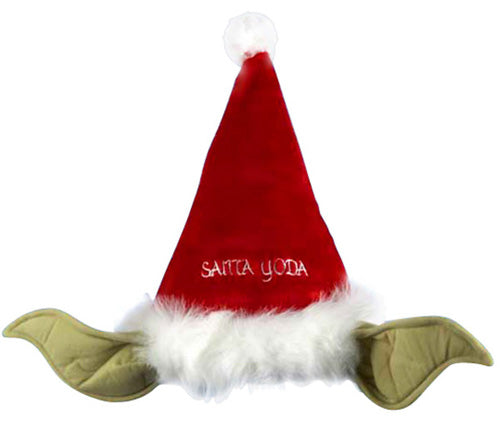 Santas red hat with Yoda's ears on the side