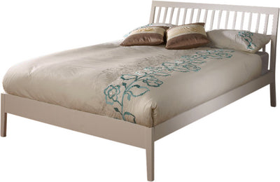 Cream finish wooden double bed frame