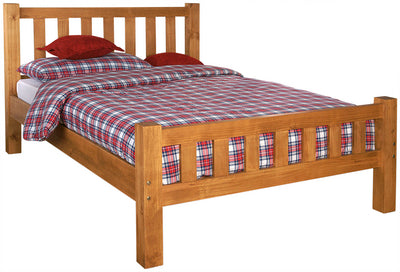 Natural finish wooden double bed frame