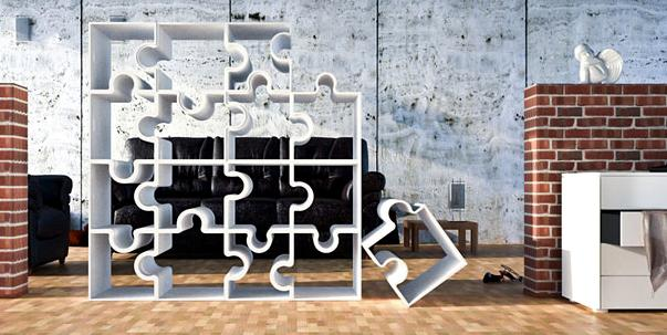 Cube shelves that stack and lock together, shaped like jigsaw pieces