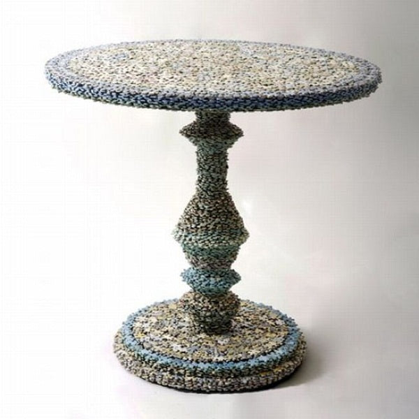 Coffee table made from very small jigsaw pieces