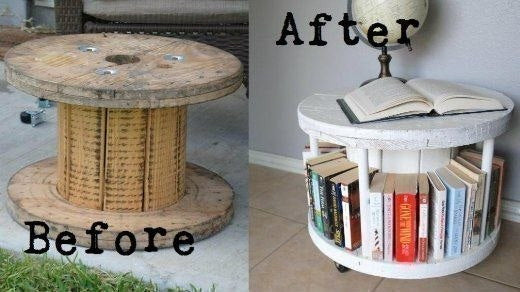 Up-cycled coil for industrial wire, turned into a wheeled book shelf