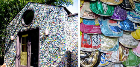 Flatted Drinks Cans Used To Coat A House