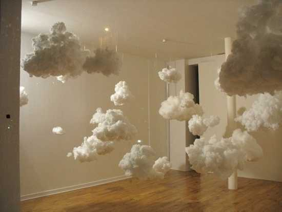 A room full of indoor clouds, made from cotton wool