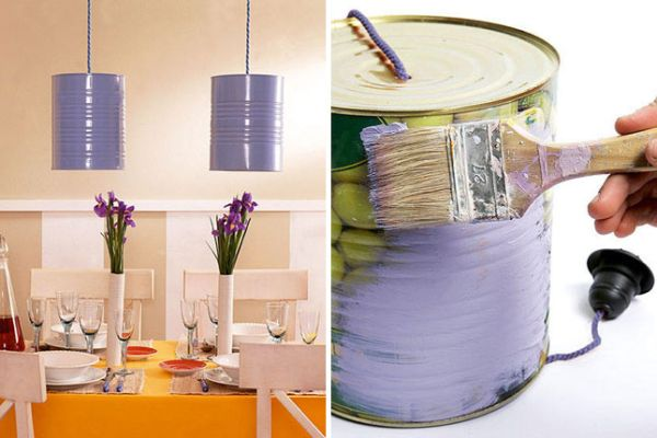 Old Food Cans Being Painted Purple And Turned Into Lampshades
