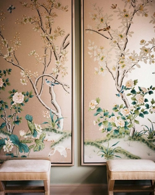 Two lovely feature pieces of wall art depicting trees, flowers, leaves and birds