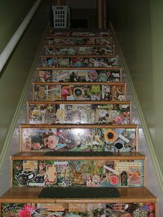Wooden staircase with stickers and decoupage on the front of each step