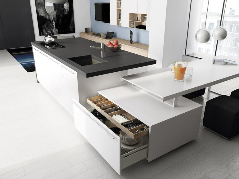 Black And white Modern Kitchen, With Square Sectional Units And Drawers