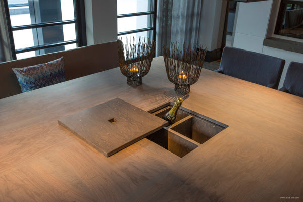 Square Dining Table With Secret Centre Compartment For Champagne
