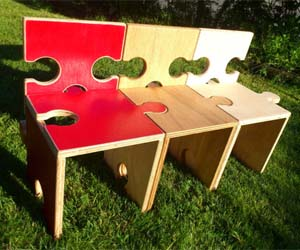 Jigsaw puzzle chairs in the garden