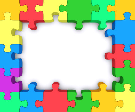Jigsaw puzzle themed multicoloured picture frame