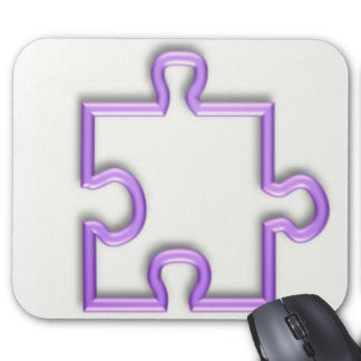 Jigsaw cutout mouse mat in white and purple