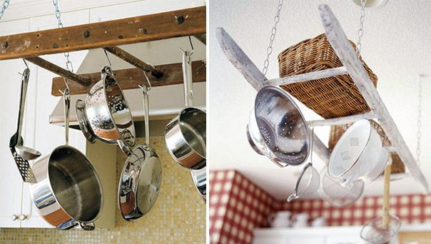 Upcycled ladders used to hang pots and pans in the kitchen