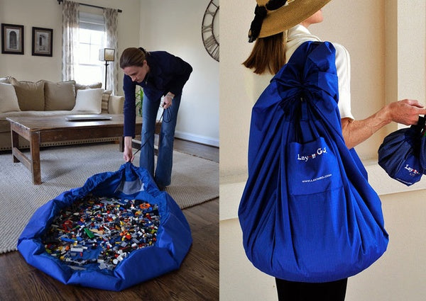 A blue sack used to store Lego pieces in