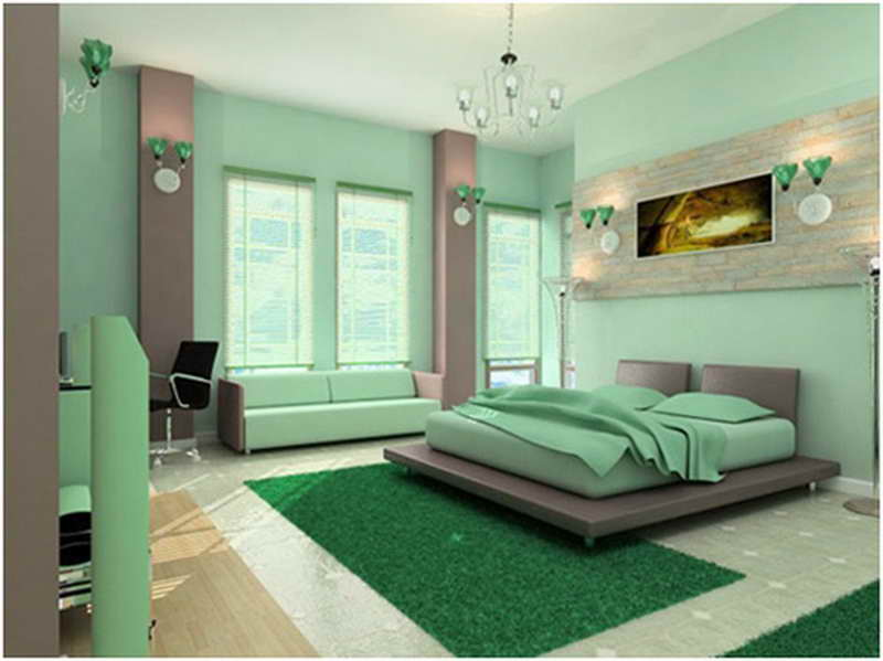 Mint green bedroom with columns of grey in the room and dark green turf like rugs