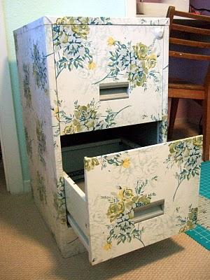 Filing cabinet covered in wallpaper, decoupage style