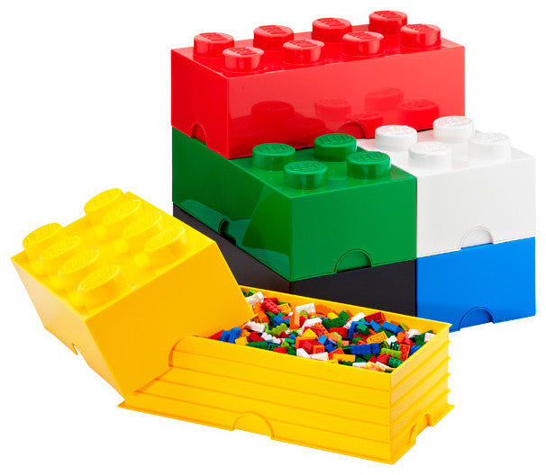 Large storage containers shaped like Lego blocks, used to store actual Lego pieces