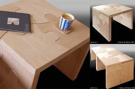 Wooden jigsaw puzzle themed coffee table