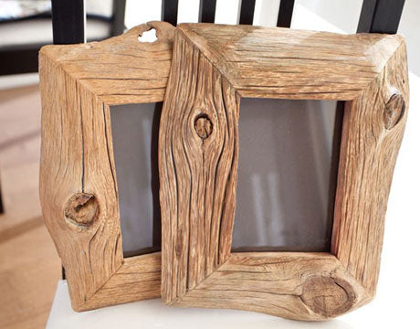 Two picture frames made from wooden driftwood