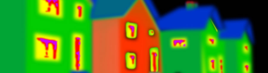 Infrared image of four houses, showing heat loss