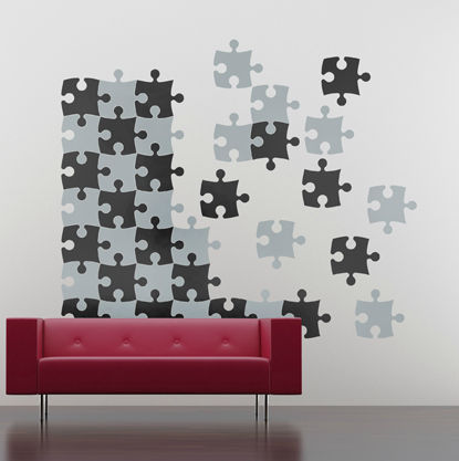 Vinyl wall stickers of jigsaw puzzle pieces
