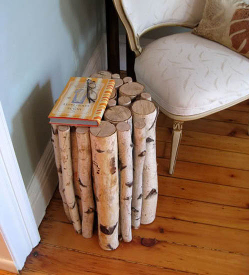 A bundle of branches glued together to make a side table