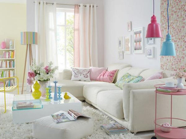 Neons And Pastel In A Fresh Living Room