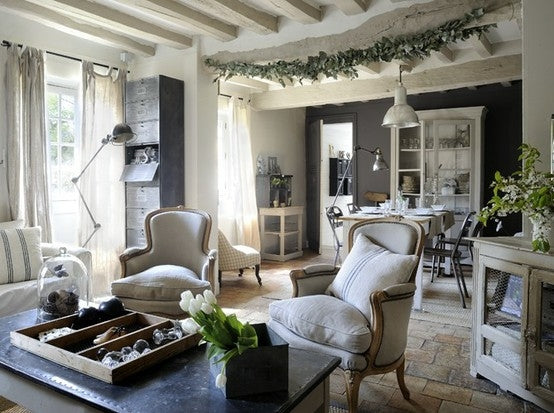 White, cream and grey stylish and elegant living and dining room
