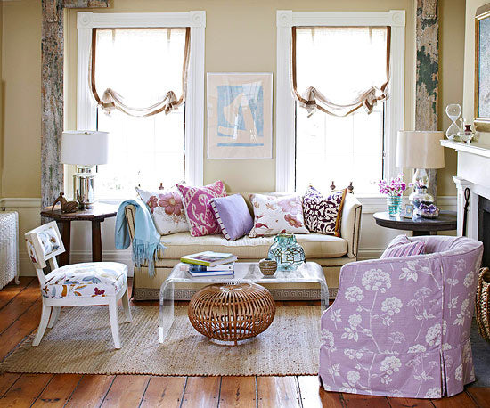 Cottage Living Room With Purples, Pinks And Creams