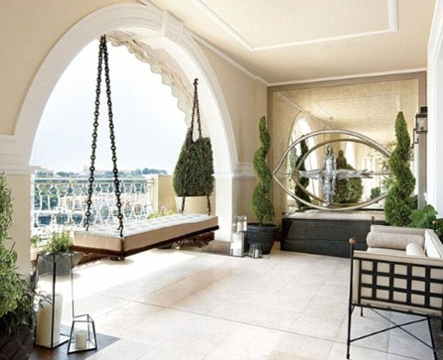Luxury cream balcony roof terrace part of Monaco luxury apartment