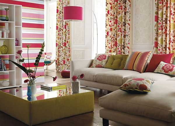 Colourful Red, Cream And Green Fabrics In A Modern Living Room