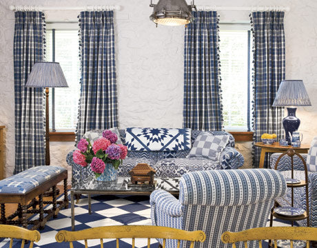 Blue And White Patterned Living Room