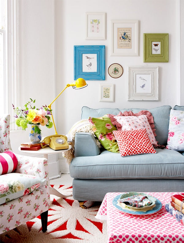Colorful Living Room With Reds, Pinks, Greens And Blues