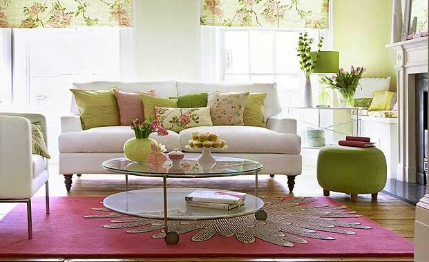 Cozy spring living room with light green and soft pinks