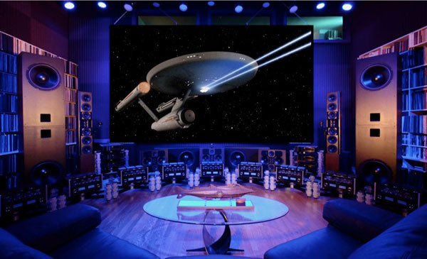 Luxury home cinema screen a Star Trek film on a large screen