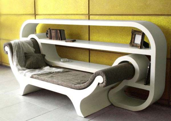 White Chaise Longue Style Chair That Pulls Out Like A Drawer, From A Matching Shelf Unit