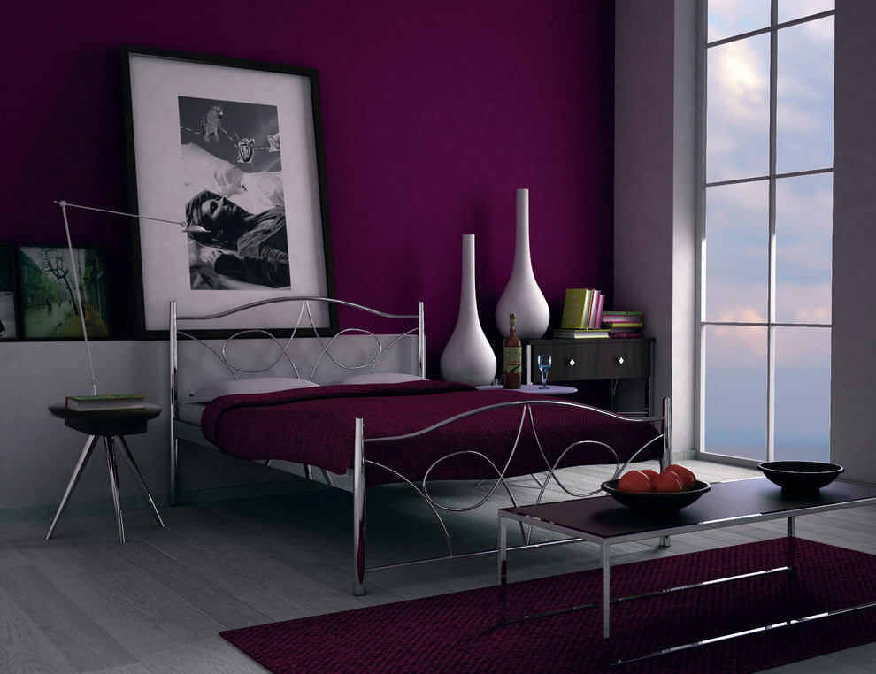 Stunning Aubergine Bedroom With Metal Frame Bed, All Of Which Is Dimly Lit