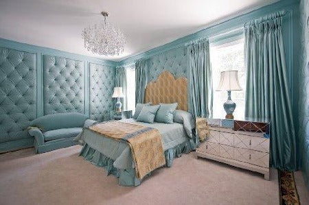 Fabric paneled bedroom
