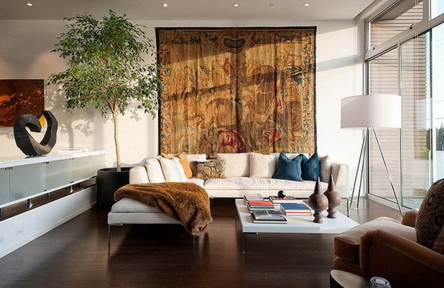 Draped fabric in living room