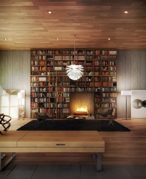 Amazing floor to ceiling bookshelves surrounding a wooden fire in a high ceiling room