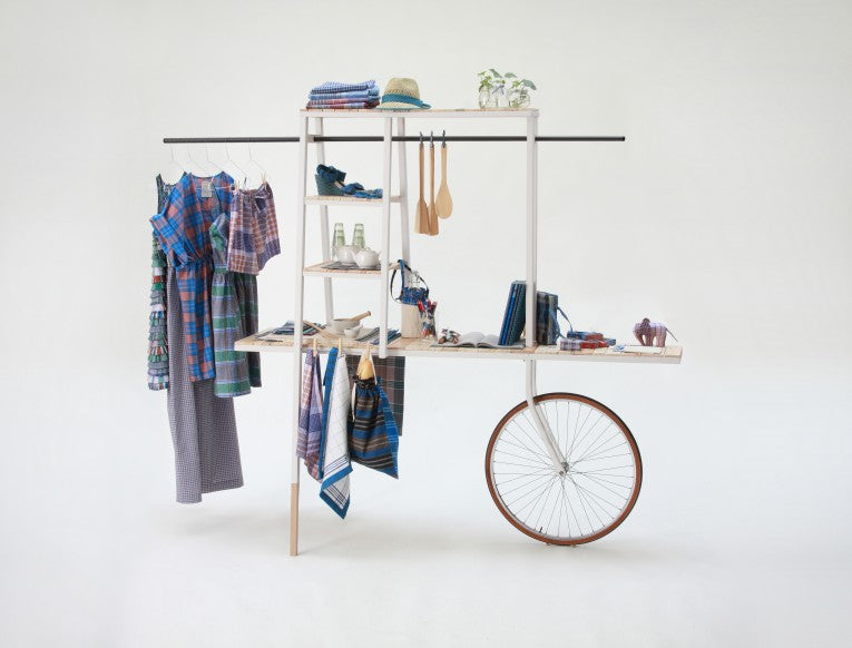 Shelves And Clothes Rail With Bicycle Wheel To Easily Move It