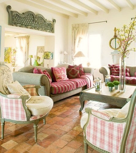 French cottage living room design in green and red