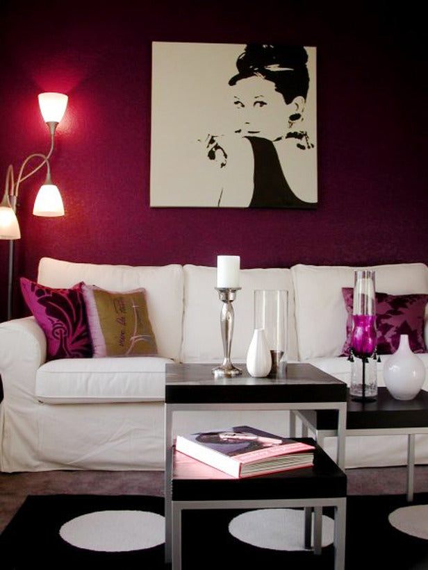 Audrey Hepburn Pop Art Canvas On An Aubergine Wall, Above A White Sofa