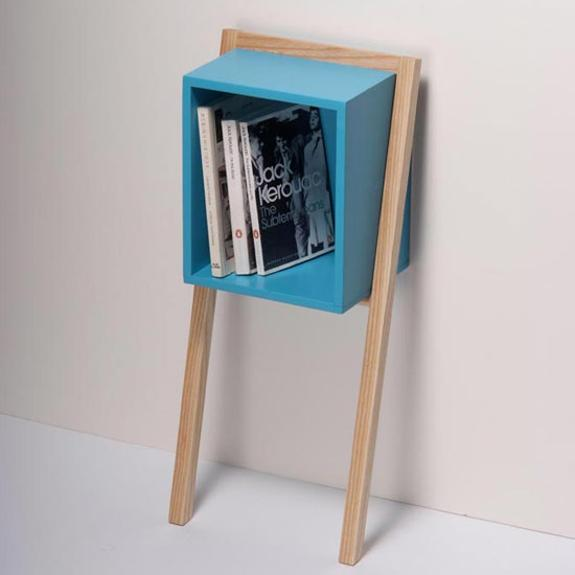 Small Bedside Table Bookshelf In Blue