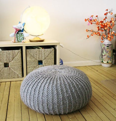 Grey Knitted Pouffe Foot Stool